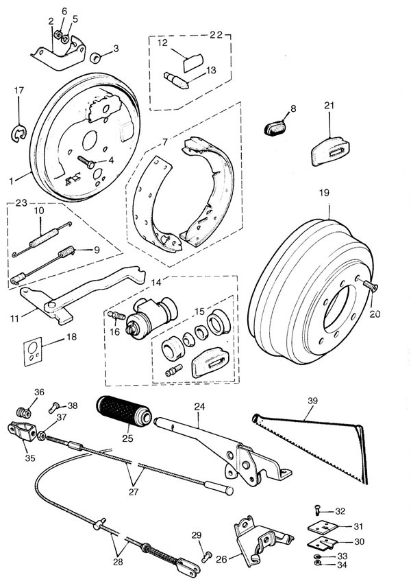 Rear Brakes, Handbrake and Mechanism