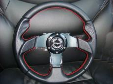 Mini Steering Wheel 320mm With Red Stitching