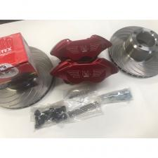 Disc Brake Kit *4 Pot RED Alloy With Vented Discs